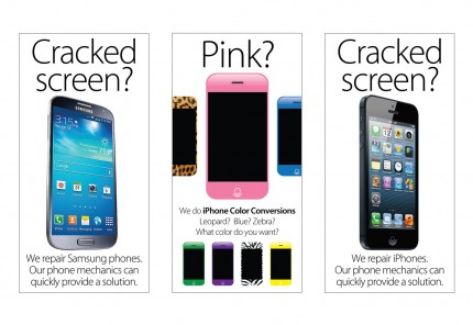 Cellular Necessities cases and screen repair posters