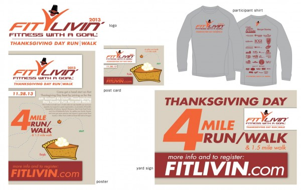 Fit Livin' Thanksgiving Day run promotional items